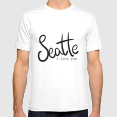 Seattle i love you  White Mens Fitted Tee MEDIUM