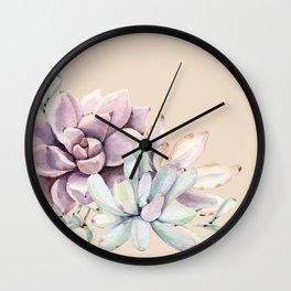 Trendy Apricot + Mint Succulents Wall Clock