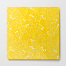 Yellow Sketch Cactus Repeat Metal Print