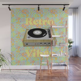 Retro Vibes Record Player Design in Yellow Wall Mural