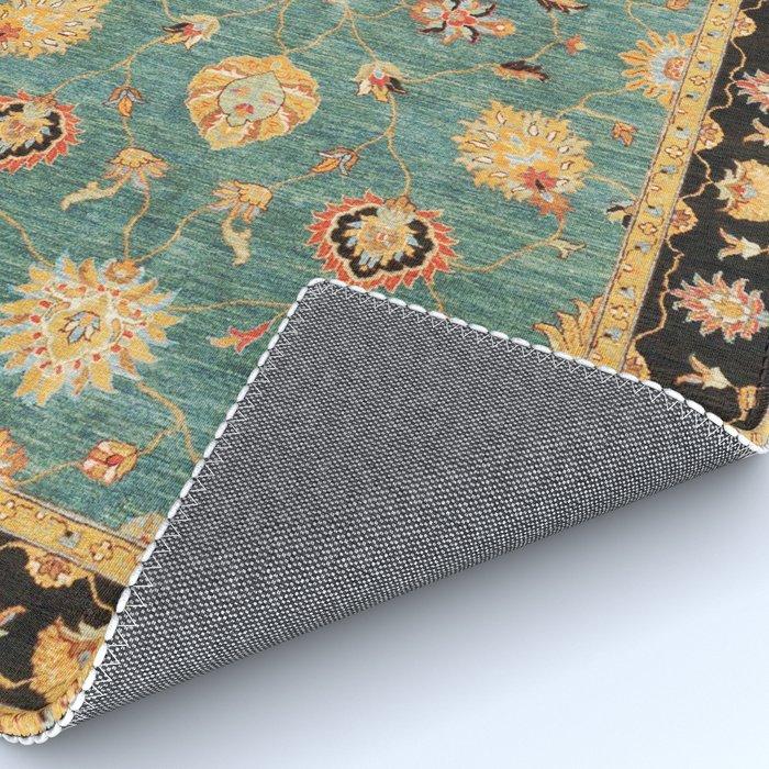 Oushak  Antique Gold Teal Turkish Rug Print Rug