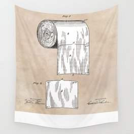 Toilet Paper patent art Wall Tapestry
