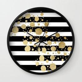 Faux Gold Paint Splatter on Black & White Stripes Wall Clock
