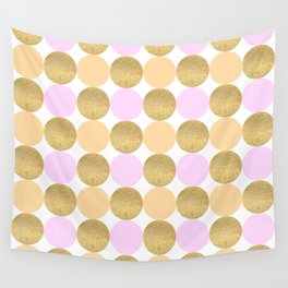 Pink Peach and Gold Dot Pattern Wall Tapestry