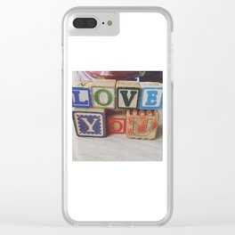 LoveYou Vintage Children's Wood Block Art Clear iPhone Case