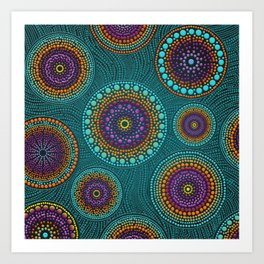 Dot Art Circles Teals and Purples #2 Art Print