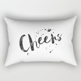 cheers sign,anniversary,wedding,watercolor,celebrate,bar decor,party gift,celebrate,quote art Rectangular Pillow