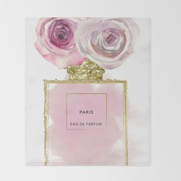 Pink & Gold Floral Fashion Perfume Bottle Throw Blanket