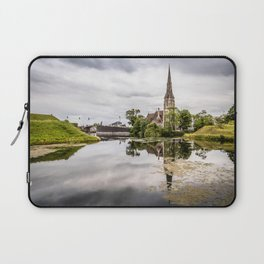 Church in Copenhagen reflections on lake at sunset Laptop Sleeve