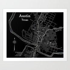 Vintage Austin Negative Art Print