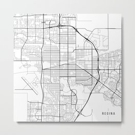 Regina Map, Canada - Black and White Metal Print