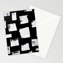 Marshmallows: a minimal abstract black and white square mudcloth pattern by Alyssa Hamilton Art Stationery Cards