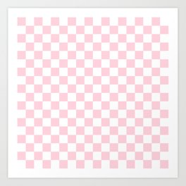 Large Soft Pastel Pink and White Checkerboard Art Print