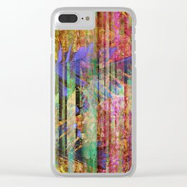 350 Abstract Iridescent Botanical Clear iPhone Case