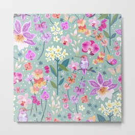 Orchid Garden on Sage Green Metal Print