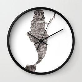 Antique Mermaid by Ashley Nada Wall Clock