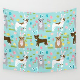 Pitbull easter dog breed pet patter rescue dog pibble lovers spring easter eggs Wall Tapestry