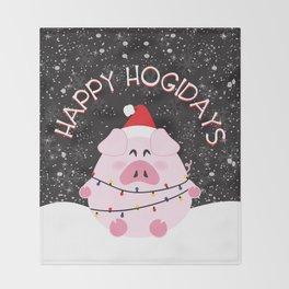 Happy Hogidays Throw Blanket