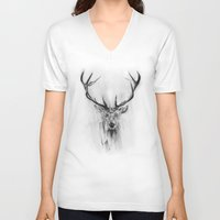 animals V-neck T-shirts featuring Red Deer by Alexis Marcou