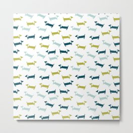 Blue and yellow green dachshunds pattern Metal Print