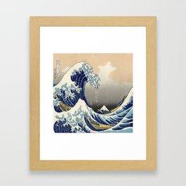 seascape painting japanese ukiyo e art the great wave off kanagawa Framed Art Print