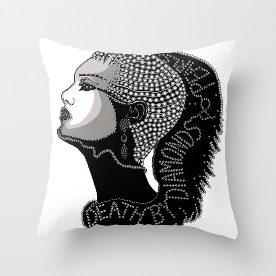 Death by Diamonds Throw Pillow