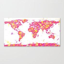 Graffiti World Map Canvas Print