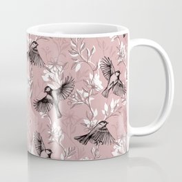 Flowers and Flight in Monochrome Rose Pink Coffee Mug