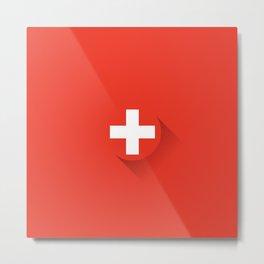 Minimal Swiss Flag Metal Print