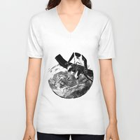 planes V-neck T-shirts featuring paper planes by Rzuud