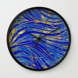 Lapis Lazuli and gold vaves pattern Wall Clock