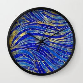 Lapis Lazuli and gold vaves pattern Wall Clock