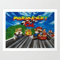 mario kart Art Prints featuring Mario Kart by Ulyana Trots Art