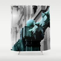 labyrinth Shower Curtains featuring Labyrinth Scorn by Julie Maxwell