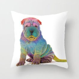Colorful Sharpei Throw Pillow