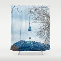 seoul Shower Curtains featuring Seoul Tower - Winter by Zayda Barros