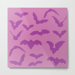 Halloween Pink Bats Pattern Design  Metal Print