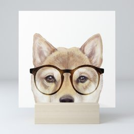 Shiba inu with glasses Dog illustration original painting print Mini Art Print