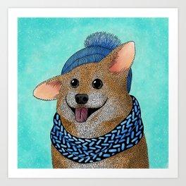 Cozy winter corgi Art Print