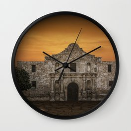 The Alamo Mission in San Antonio Texas with the Lonestar Flag Flying No.0256 A Fine Art Historical P Wall Clock