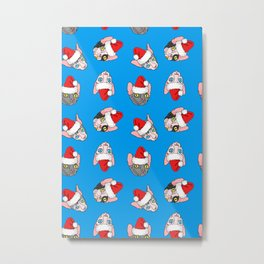 Christmas sphynx (naked cat) on blue Metal Print