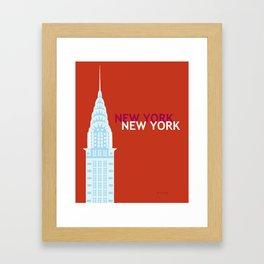 New York City, New York - Skyline Illustration by Loose Petals Framed Art Print