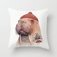 walrus Throw Pillows featuring Tattooed walrus by Animal Crew