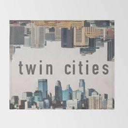 Twin Cities Minneapolis and Saint Paul Minnesota Skylines Throw Blanket