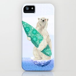 Polar bear & Surf (green) iPhone Case