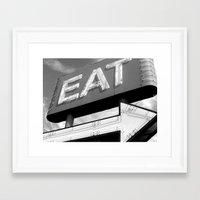 eat Framed Art Prints featuring EAT by Platcat Design