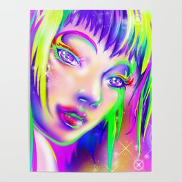 rainbow colorful girl Poster