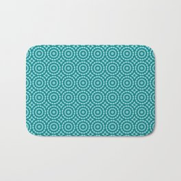Tanager Turquoise and Teal Blue Duo Tone Repeat Pattern Bath Mat