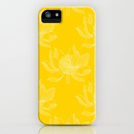 Lovely Modern Lotus Flowers on Sunny Yellow Background - Spring Summer Mood #decor #society6 #buyart iPhone Case