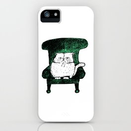 Staring Cat (Green) iPhone Case
